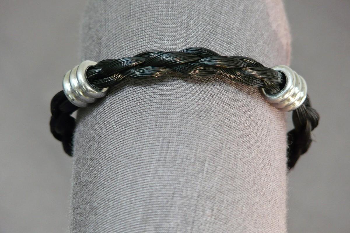armband van paardenhaar 4 strengen rondgevlochten